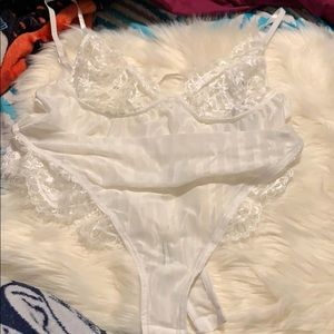 Boohoo lace trim see through body suit